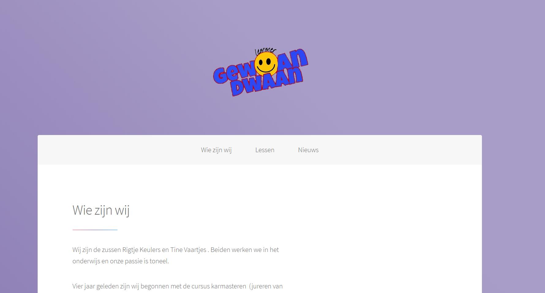 Website voor Gewoan Dwaan